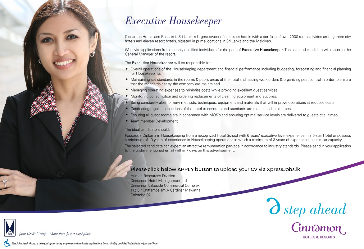 executive housekeeper cinnamon hotel management lk job image - How To Get A Housekeeping Job