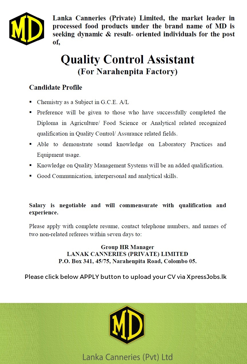 quality control assistant lanka canneries pvt lk job image