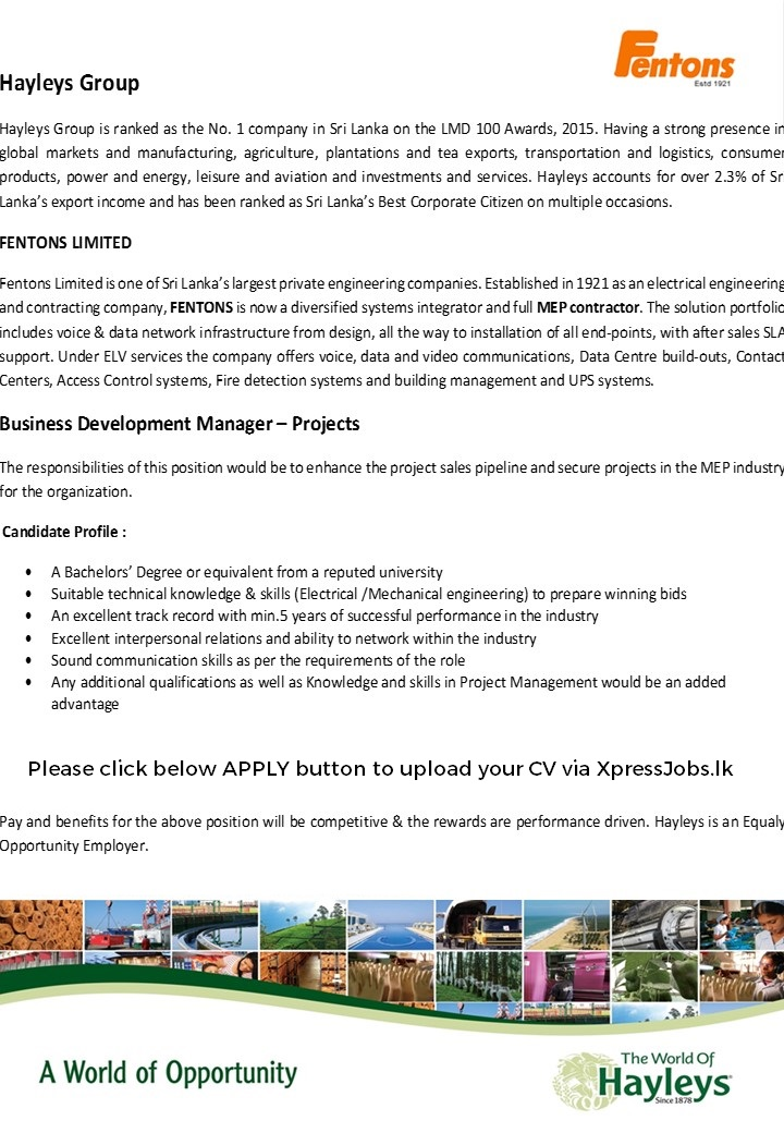 Business Development Manager  Projects  Hayleys Plc  XpressjobsLk