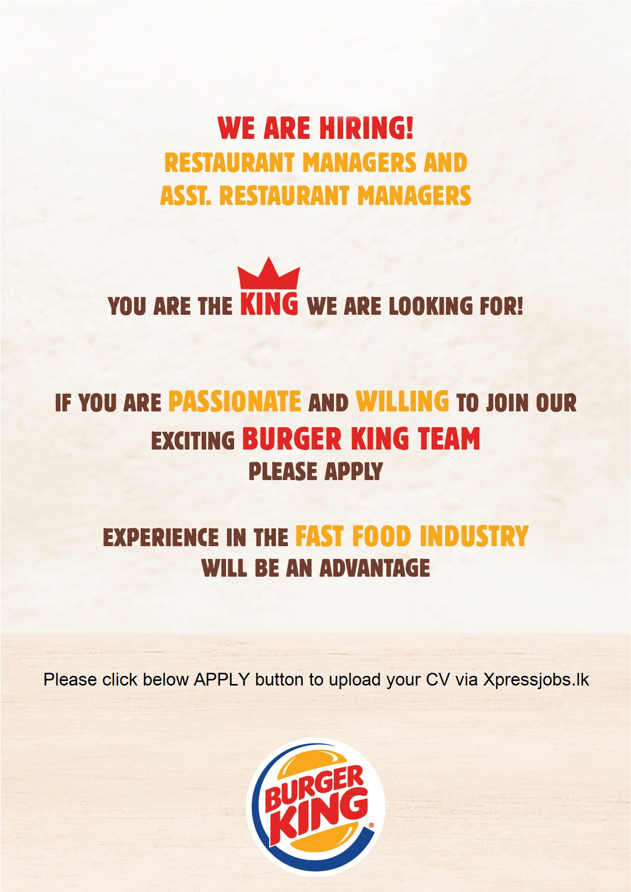 restaurant managers asst managers supervisors burger king job image